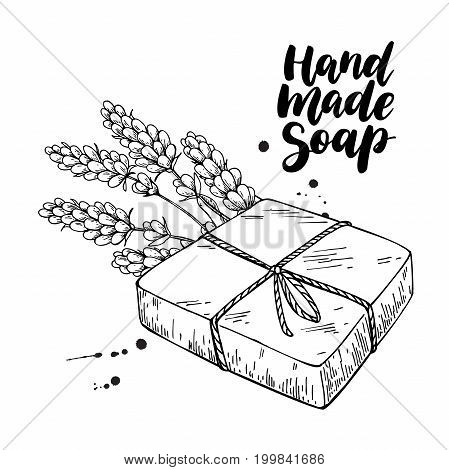 Handmade natural soap. Vector hand drawn illustration of organic cosmetic with lavender medical flowers. Herbal bodycare. Great for label, logo, banner, packaging, spa and body care promote