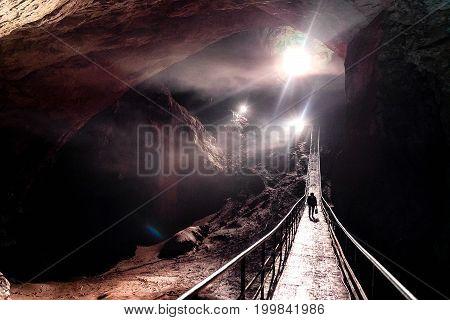 Beautiful nature of a cave Magnificent Entrance Into the Cave Photography was taken in New Athos cave Abkhazia