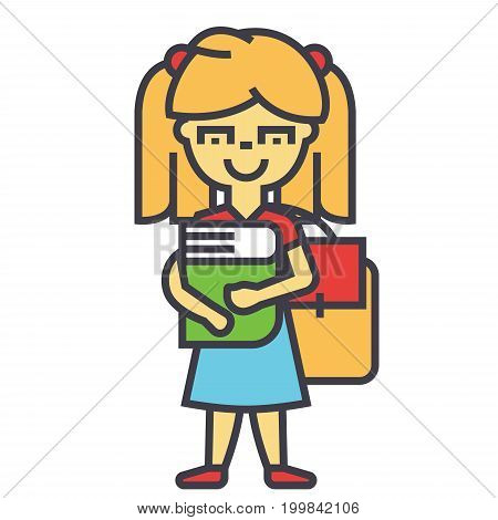 Girl in primary or elementary school with book and backpack, woman student, study concept. Line vector icon. Editable stroke. Flat linear illustration isolated on white background