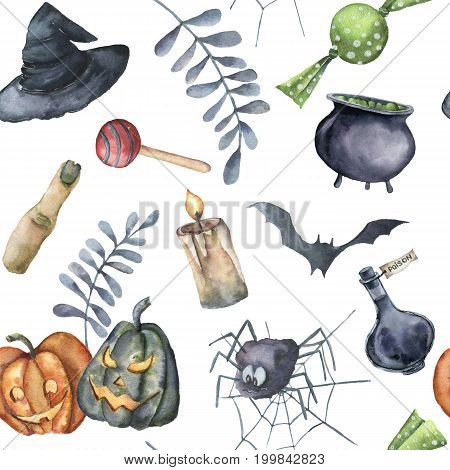 Watercolor Halloween pattern. Hand painted Halloween symbols on white background. Pumpkins, witch hat, candy, spider, potion, cauldron, candle, finger, bats and floral branch. Holiday design