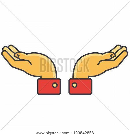 Hands support concept. Line vector icon. Editable stroke. Flat linear illustration isolated on white background