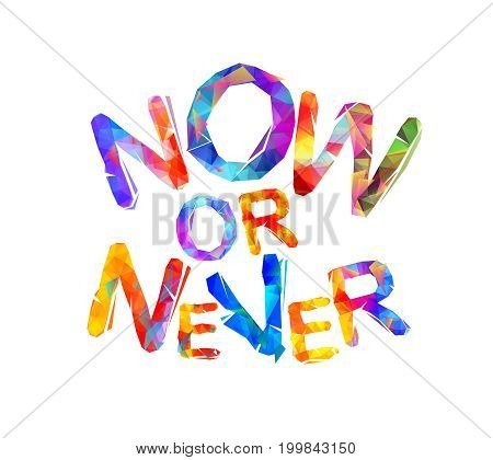 Now Or Never. Vector Inscription
