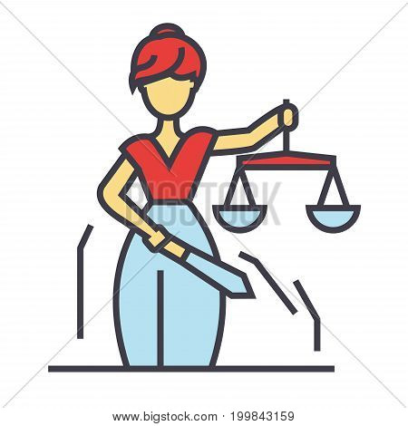 Justice statue, Themis Femida, law concept. Line vector icon. Editable stroke. Flat linear illustration isolated on white background