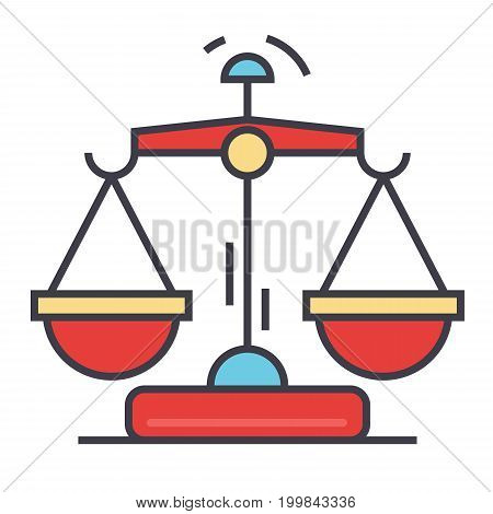 Law and justice scales concept. Line vector icon. Editable stroke. Flat linear illustration isolated on white background