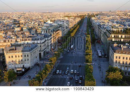 Famous boulevard Champs Elysees in Paris, France poster