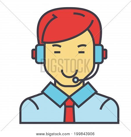 Man with a headset, call center operator, client assistance concept. Line vector icon. Editable stroke. Flat linear illustration isolated on white background