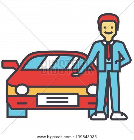 Man buying new car, auto dealer, vehicle dealership, automobile sale, sell transport, agent, salesman concept. Line vector icon. Editable stroke. Flat linear illustration isolated on white background