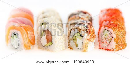 Fusion Set Sushi Isolated On White. Shallow Depth Of Field