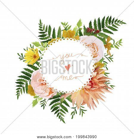 Flower airy wreath bouquet of pink garden Rose yellow calendula Primrose orange Dahlia flowers forest fern green leaves greenery. Wedding trendy vector watercolor style love card illustration design