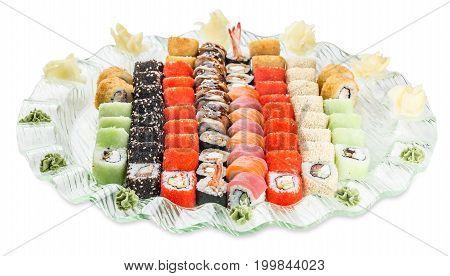 Set Sushi Rolls Plate - Isolated On White Background