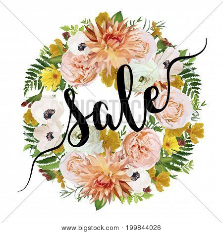 Summer sale vector banner poster background wreath round garland with pink garden rose dahlia anemone calendula greenery herbs. Elegant Illustration template design.Sale Discount poster sticker