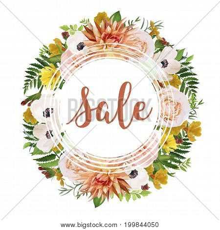 Summer sale vector banner poster background wreath with pink garden rose dahlia flowers anemone calendula greenery herb mix. Elegant Illustration template design. Flyer brochure discount visit card