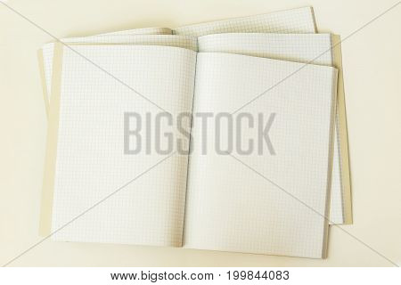 Close-up of three large open clean and empty notebook in a cage, top view, background, texture. Place for text, concept of back to school, starting school and any new cases