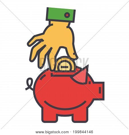 Money pig, savings, happy piggy bank, hand put coin in safe concept. Line vector icon. Editable stroke. Flat linear illustration isolated on white background