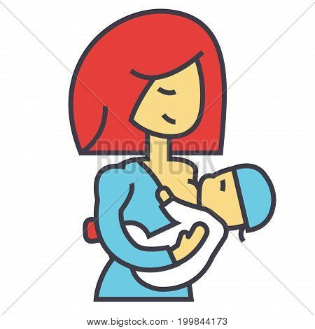 Mother breastfeeding baby, lactation, feeding child concept. Line vector icon. Editable stroke. Flat linear illustration isolated on white background