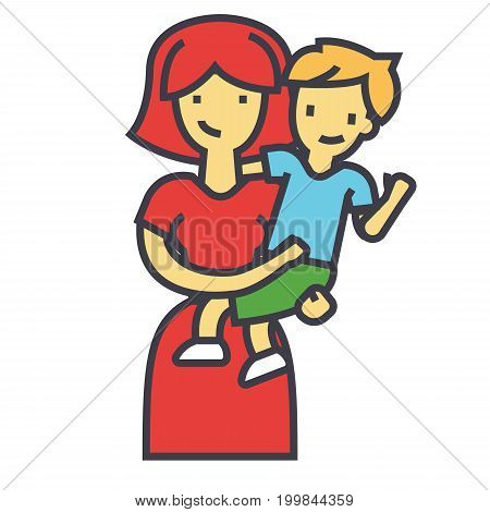 Happy mother with son, pretty mum embracing kid concept. Line vector icon. Editable stroke. Flat linear illustration isolated on white background