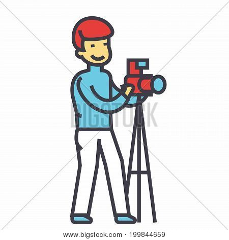 Photographer with camera and tripod, photo studio concept. Line vector icon. Editable stroke. Flat linear illustration isolated on white background