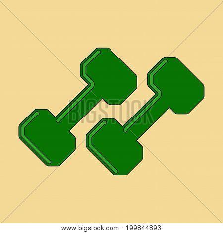 flat icon on stylish background dumbbells balance