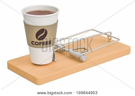 Caffeine dependence concept. Disposable cup of coffee in mousetrap 3D rendering isolated on white background