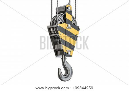 Crane hook closeup 3D rendering isolated on white background
