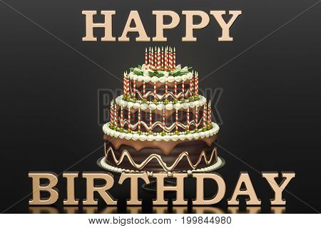 Happy Birthday concept. Golden inscription and chocolate Birthday cake with candles on stand 3D rendering