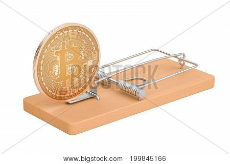mousetrap with bitcoin 3D rendering isolated on white background