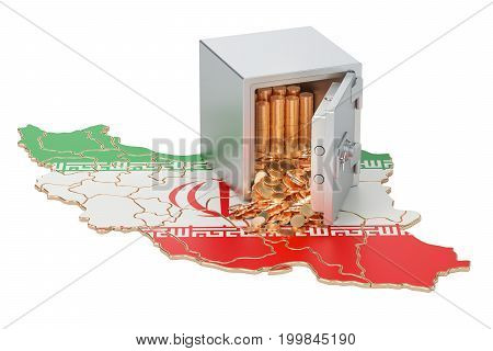 Safe box with golden coins on the map of Iran 3D rendering