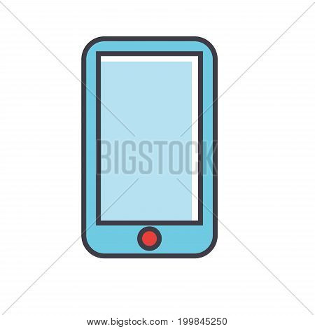 Smartphone, mobile development concept. Line vector icon. Editable stroke. Flat linear illustration isolated on white background