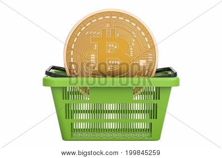 Shopping basket with bitcoin 3D rendering isolated on white background