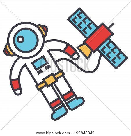 Spaceman in space with spaceship, astronaut, spacecraft concept. Line vector icon. Editable stroke. Flat linear illustration isolated on white background