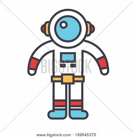 Spaceman concept. Line vector icon. Editable stroke. Flat linear illustration isolated on white background