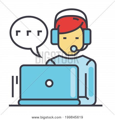 Support  customer service, man with computer and headset, client chat concept. Line vector icon. Editable stroke. Flat linear illustration isolated on white background