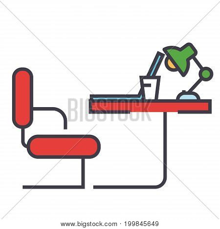 Table office sideview concept. Line vector icon. Editable stroke. Flat linear illustration isolated on white background