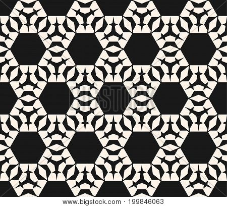 Vector ornamental geometric texture. Monochrome seamless pattern with angled geometrical figures, hexagons, rhombuses, triangles. Abstract black & white background, repeat tiles. Decorative design.