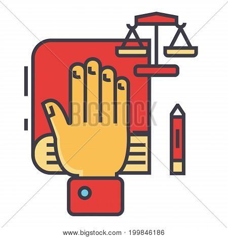 Truth, oath, hand on book, bible, small scales, law and justice, constitution concept. Line vector icon. Editable stroke. Flat linear illustration isolated on white background