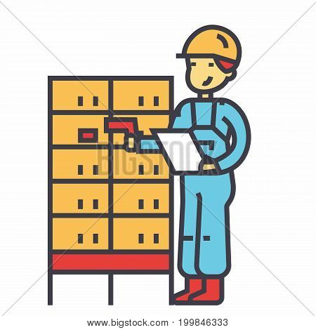 Warehouse, delivery man, checking bar code on post boxes concept. Line vector icon. Editable stroke. Flat linear illustration isolated on white background