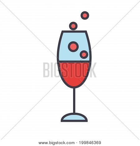 Red wine glass, drinking, champagne concept. Line vector icon. Editable stroke. Flat linear illustration isolated on white background