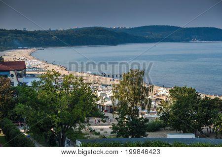 SopotPoland-September 72016:Baltic sea beach landscape in Sopot Poland.