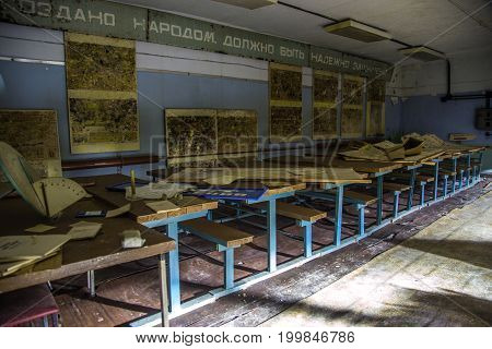 Russia, Voronezh - CIRCA 2017: Training class room of Civil Defense in Abandoned underground Soviet bomb shelter