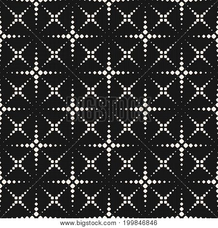Vector seamless pattern with halftone dotted lines. Texture with small dots, crosses, flashes, fireworks. Simple geometric abstract monochrome background. Stylish modern dark decorative design. Cross pattern, dots pattern, ornamental pattern.