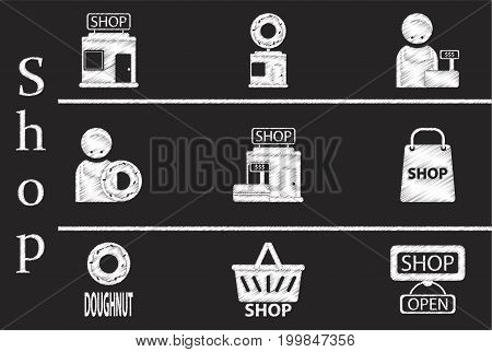 Set of Flat Icons in Shading Style shop