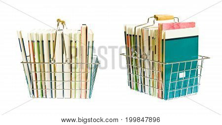 a shopping basket full with books - side and diagonal view.