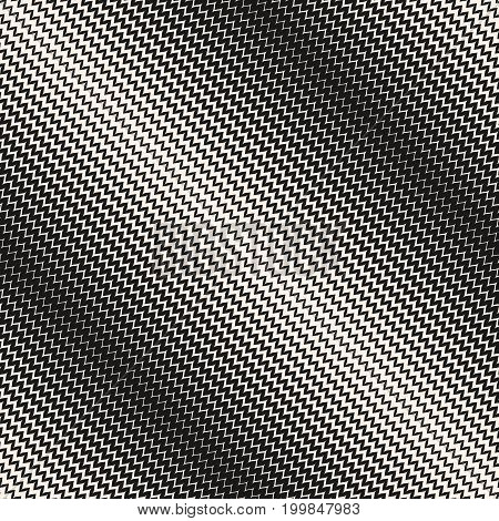 Vector halftone background. Modern abstract geometric seamless pattern with curved zigzag lines. Diagonal wavy zig zag stripes with gradually thickness. Gradient transition effect. Monochrome texture. Design pattern, textile pattern, digital pattern