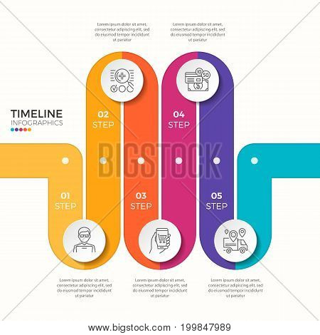 Vector 5 steps winding color timeline infographic template