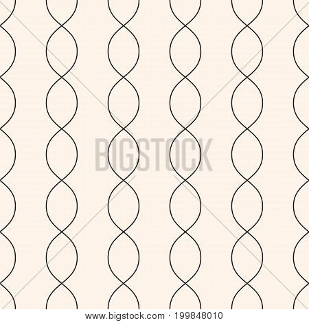 Vertical wavy lines seamless pattern. Subtle abstract geometric background. Minimalist endless texture. Thin curved lines, chains DNA. Design pattern, textile pattern, covers pattern, package pattern, decor pattern, fabric pattern.