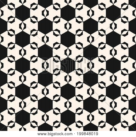 Vector seamless ornament pattern. Geometric tiles texture. Abstract repeat monochrome background with simple angled figures, hexagons, rhombuses. Elegant mosaic illustration. Decorative design.