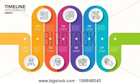 Vector 7 steps winding color timeline infographic template