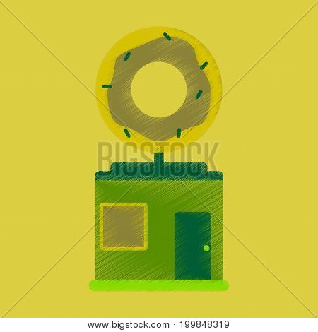 Flat Icon in Shading Style Donut shop