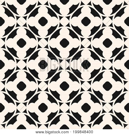Ornamental seamless pattern in oriental style. Monochrome geometric ornament, abstract background texture with floral shapes, circles, lattice. Cross pattern, ornamental background. Design element for prints, textile, decor, tiling, ceramic.