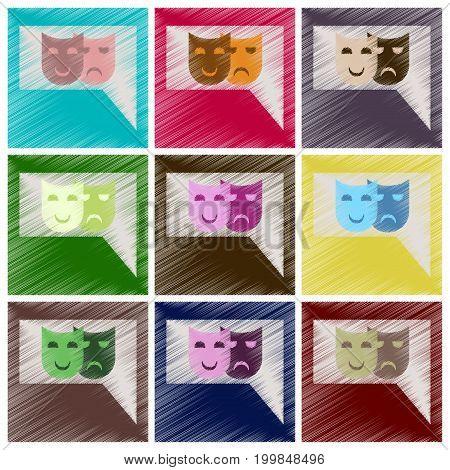 Set of Flat Icons in Shading Style film mask